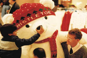 The Mistletoe bear, created for Marshall fields by Those Funny Little People